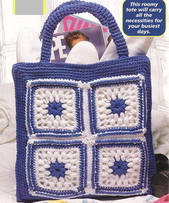 Crochet Granny Square Purse Pattern : Granny Square Tote Bag Crochet Pattern