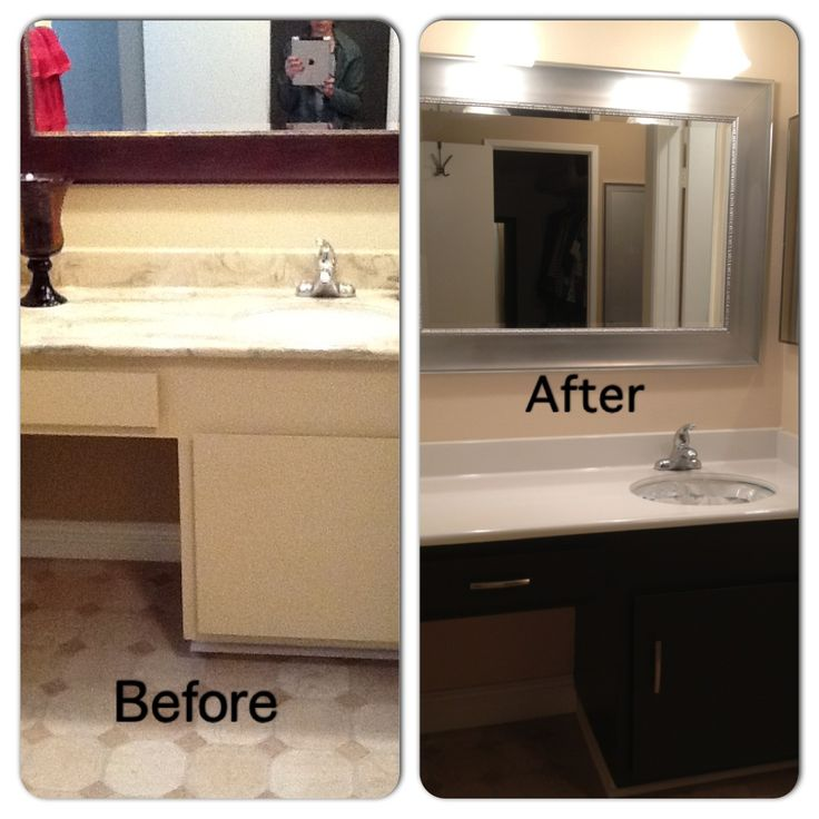 Before And After Bathroom DIY. Painted Laminate Counters And Cabinets, Added Hardware, And