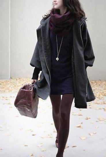 Grey Women Coat wool Jacket women dress Winter