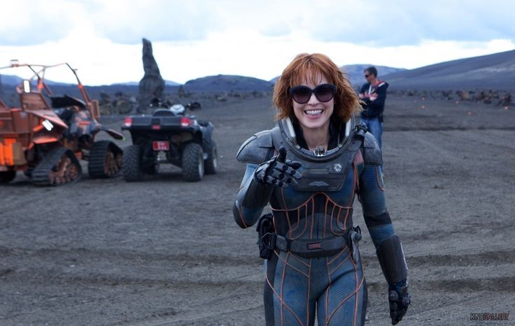 Noomi Rapace on the set of Prometheus