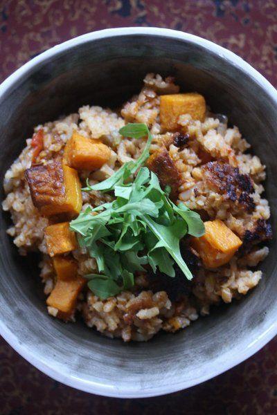 Vegetarian Butternut Squash and Leek Paella - a #vegan rice dish. Try ...