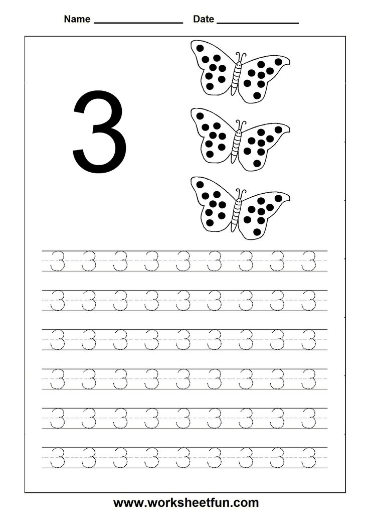 Free Worksheets free tracing numbers 1 10 worksheets : Number Tracing 3 Images - Frompo