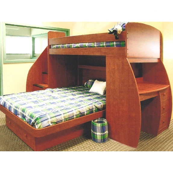 Sierra Twin over Full LShaped Bunk Bed with Desk and Storage 574 x 574