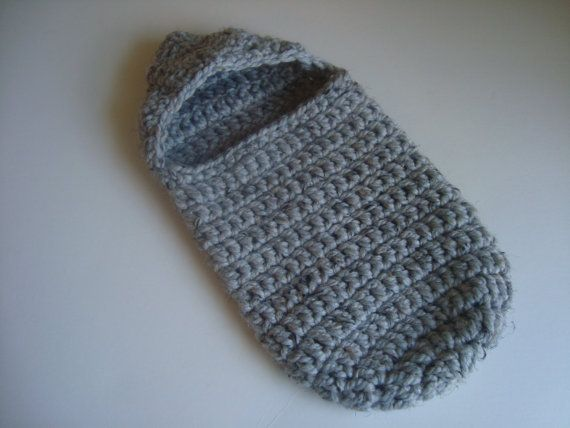 Free Crochet Pattern Hooded Cocoon : Crochet Gray Baby Cocoon with Hood PATTERN Newborn Baby ...
