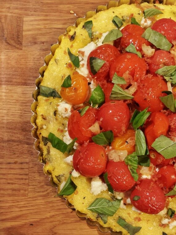 Polenta tart with basil, ricotta salata and roasted corn, spring ...