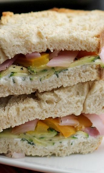 Roasted Zucchini, Pepper, Onion and Goat Cheese Sandwiches | Recipe