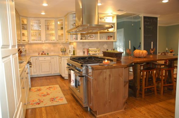 Cool island with table extension shabby chic kitchen pinterest