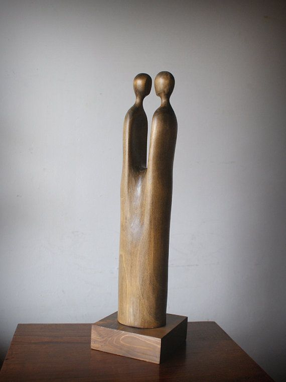 Lovers Modern Wood Sculpture Unique Hand Carved Wood Statue