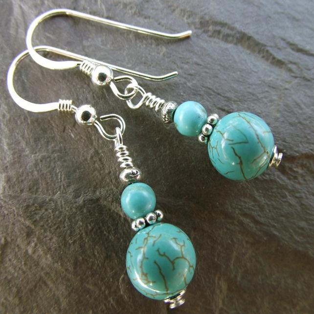 Turquoise gemstone sterling silver earrings....