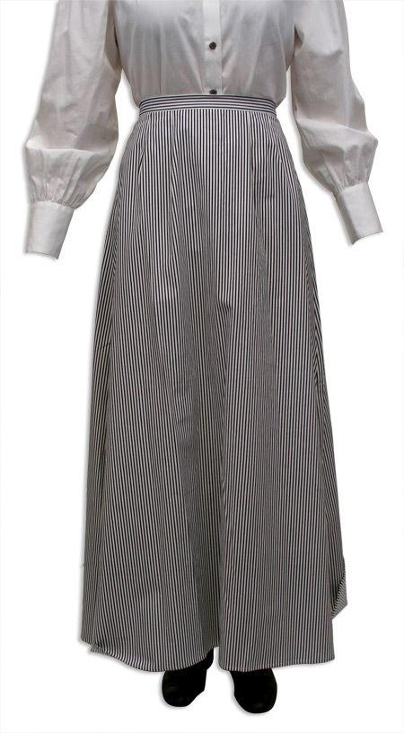 Pinstripe Walking Skirt - Black/White