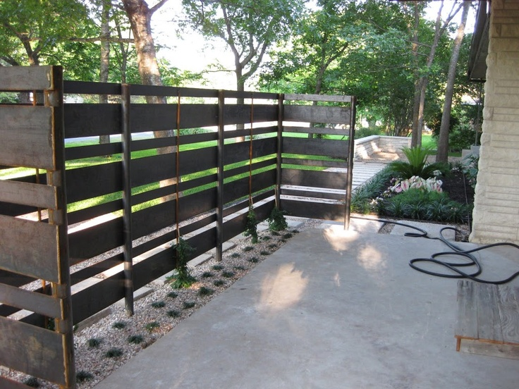 Iron privacy screen 2014 new house pinterest for Wood pallet privacy walls