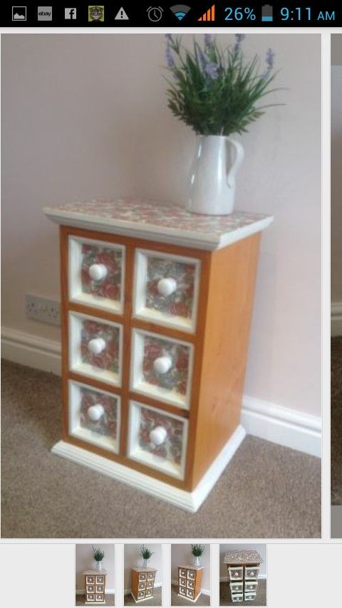 Upcycled Drawers Rose Print Decoupage Upcycled Furniture