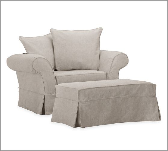 charleston slipcovered chair and a half