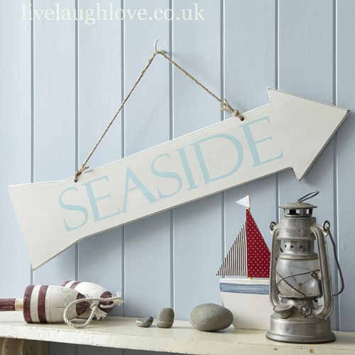 Distressed Wooden Arrow Sign Seaside