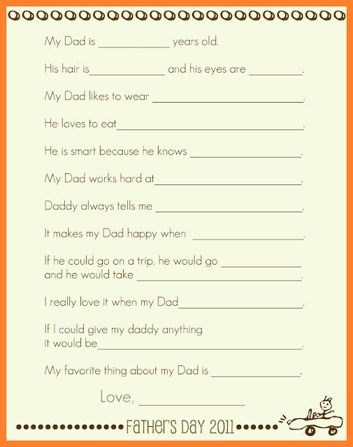 Father's Day Interview Poster from: http://simplymontessori.blogspot.com/2011/06/printable-fathers-day-interview-poster.html
