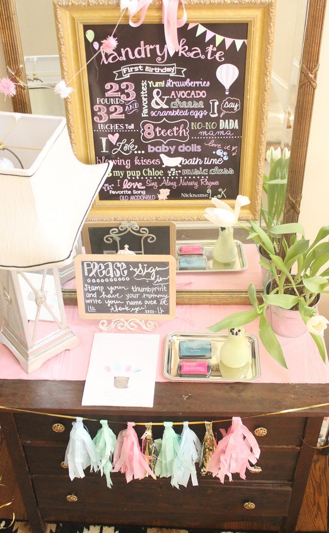 """First Birthday """"Stats"""" Chalkboard Display - Plus, we love the idea of having guests leave their thumbprint to create a cute art print/keepsake! #firstbirthday"""
