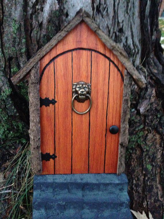 Gnome door fairy door or tree door with lion knocker for Gnome doors for trees