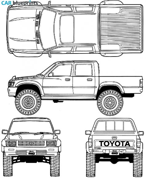 car blueprints 1992 toyota hilux v double cab 4x4 truck