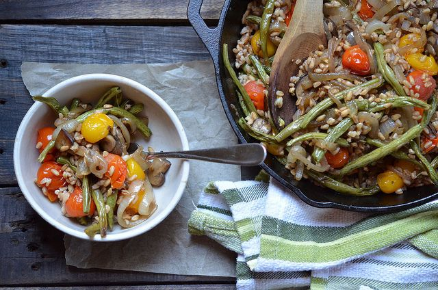 Roasted Vegetable and Caramelized Onion Farro Salad