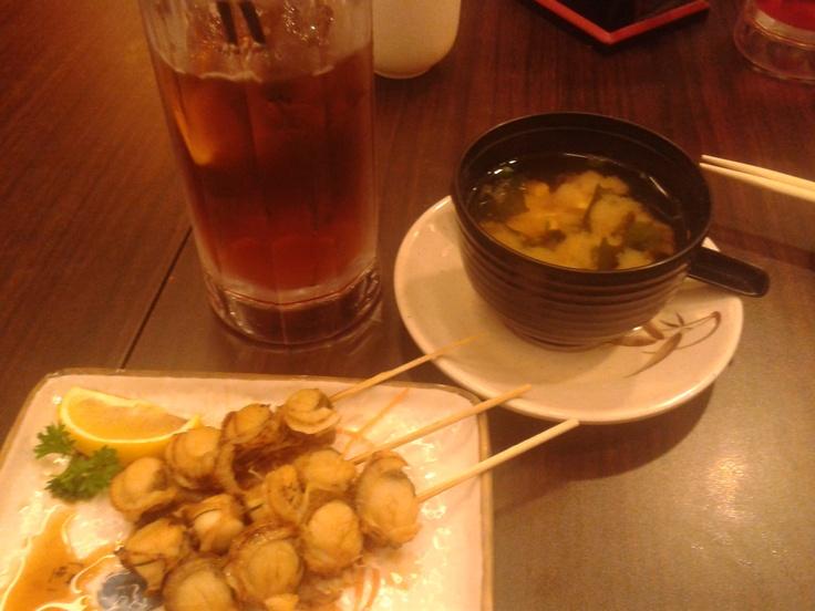 Aug 01 2012: Ice Lemon Tea, Miso Soup, Scallop Stick. Venue: Niho Mura ...