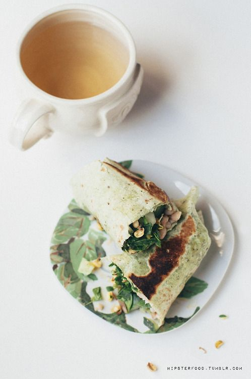 ... wrap with hummus, white beans, cucumber, crunchy sprouts, greens, and