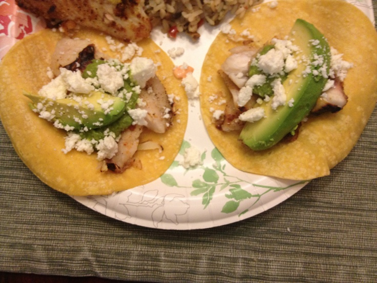 Grilled Fish Tacos with a Roasted Chile Avocado and Spicy Mayo Salsa