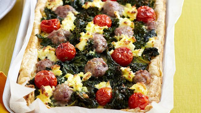 Kale, sausage and ricotta tart for $2.95 | Glorious Food | Pinterest