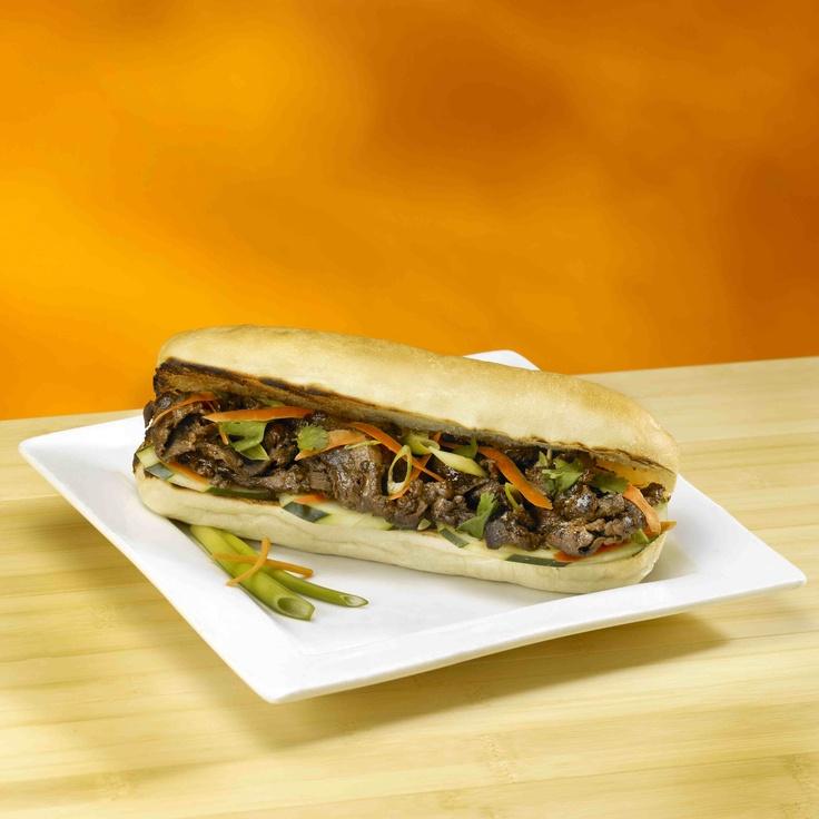 on the traditional Asian street food: Banh Mi Bulgogi sauteed beef ...