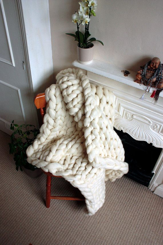 Chunky Knit Corriedale Wool Throw by GraphiteHandKnit on Etsy, £120.00