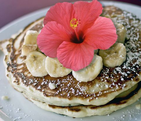 Banana Macadamia Nut Pancakes with Mango Butter & Coconut Syrup