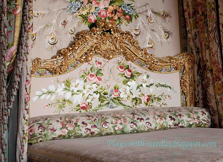 Fantastic embroidery in Marie Antoinette's bed chamber - as re-created by team of skilled embroiderers in mid-20th century.