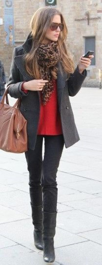 grey peacoat + leopard scarf + red cable knit sweater + black jeans + boots