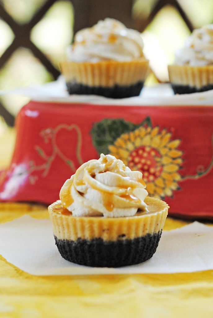 Mini Coffee Cheesecakes with Caramel Whipped Topping from ...