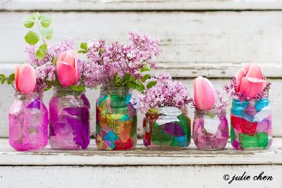 DIY Mother's Day Vases by lifeversedesign: Easy with modpodge, tissue paper and recycled jars! #DIY #Mohters_Day #Vase #lifeversedesign