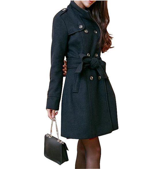 Black Women coats/jacket OL jacket Wool coat Cashmere winter coat Hoo