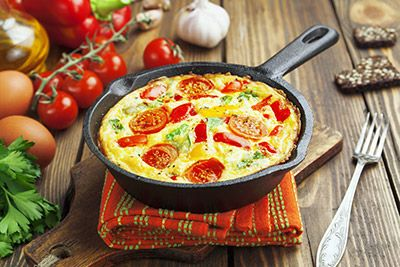 Egg frittata with bacon, tomatoes and green onion. Add any vegetables ...