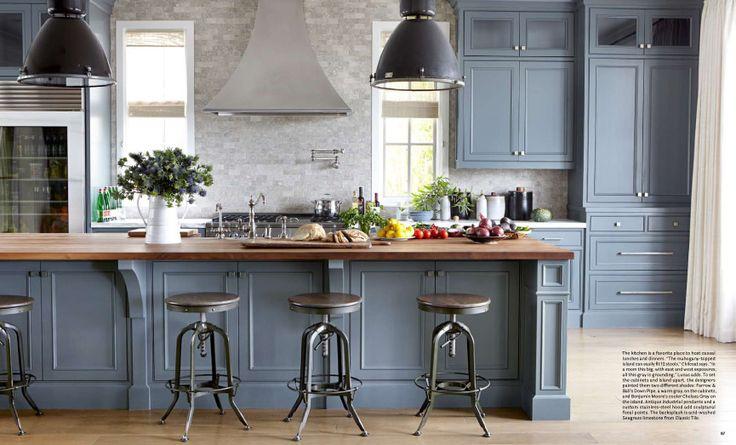 House beautiful blue gray kitchen  Home  Pinterest