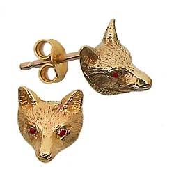 Gold Fox Mask Earrings