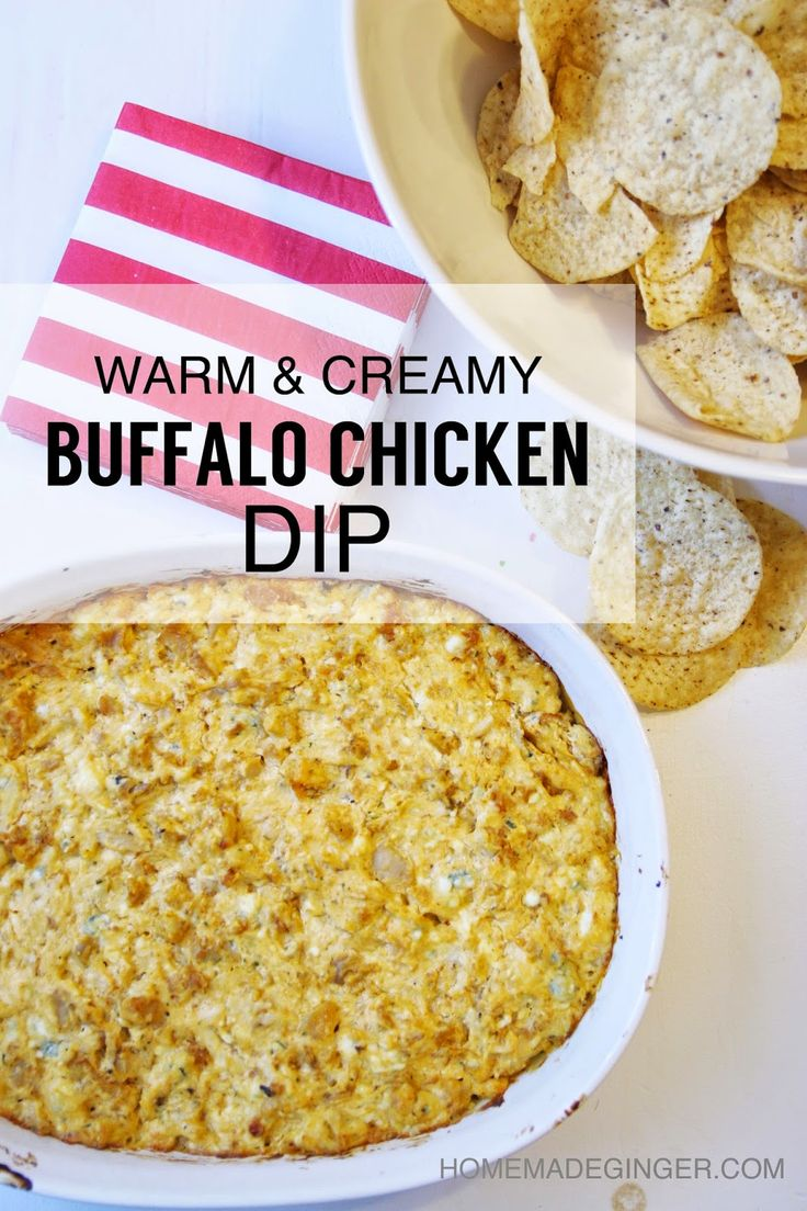 Warm and creamy buffalo chicken dip. The perfect snack for watching ...