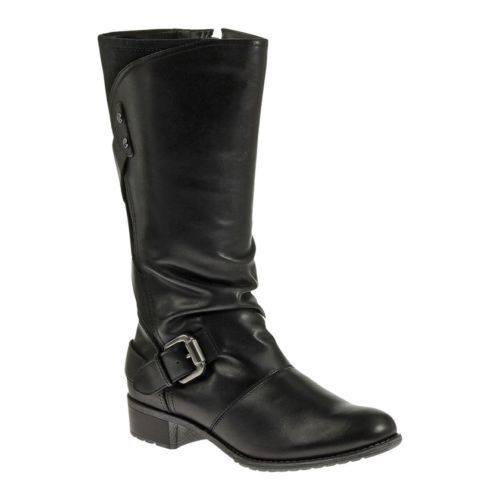 12 Wide Calf Womens Black WP Leather Tall Boots H507109   eBay