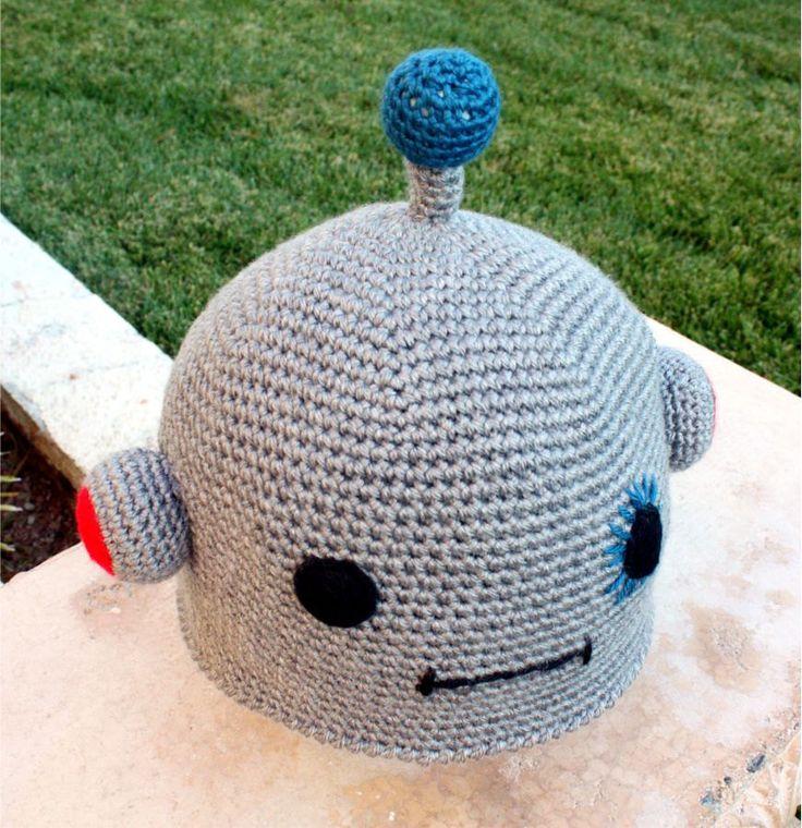 robot hat kawaii cool japanese ish handmade crochet
