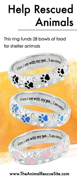 At The Animal Rescue Site, every purchase funds meals for Shelter Animals in need. Shopping + Helping Animals = Pawsome! Find this ring & cool paw prints here: www.Shop2give.us/Shop-4-Animals