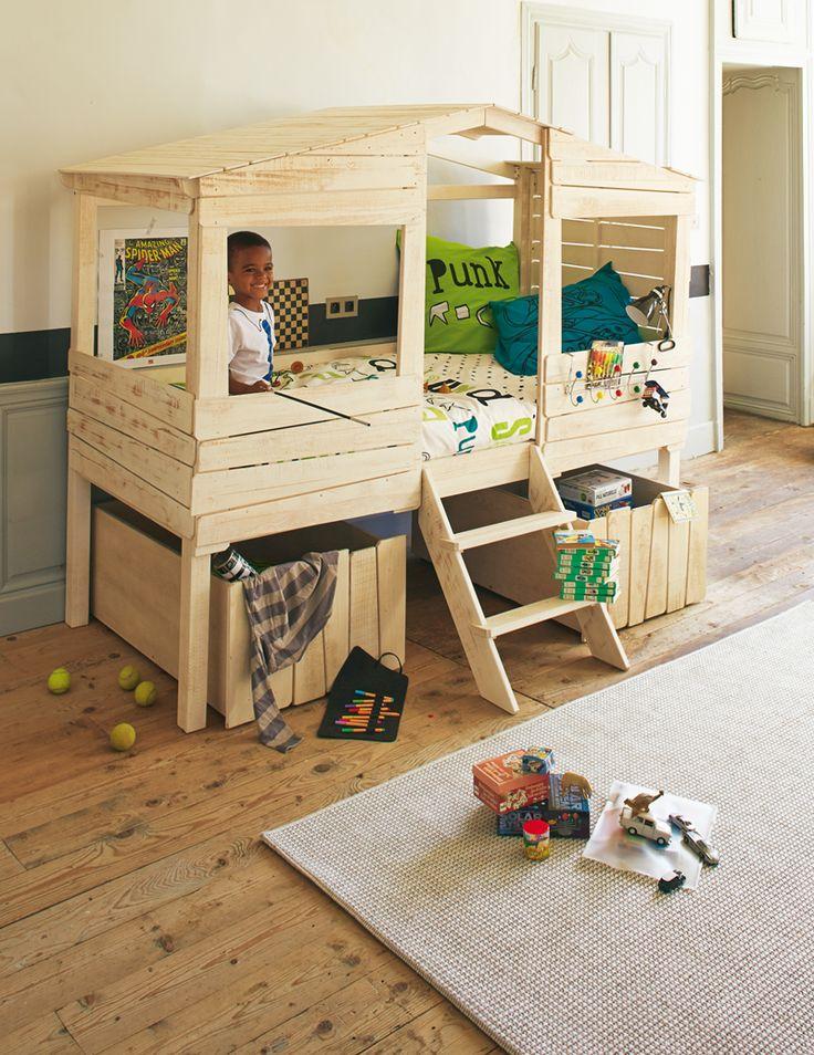 Lit cabane 90x200cm Woody Wood  Une chambre pour mon ...