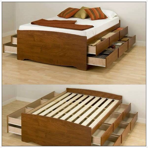 Wooden bed frame with drawers beds pinterest - Wooden beds with drawers underneath ...