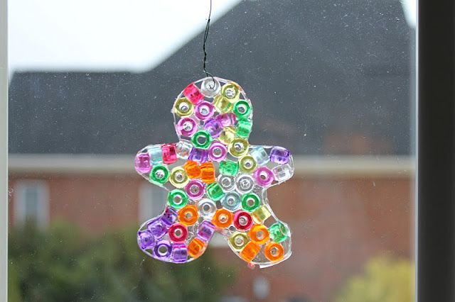 pony bead ornaments/suncatchers (beads,elmers glue, cookie cutters, wax paper)