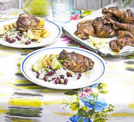 Jamaican-spiced chicken with chargrilled pineapple & rice and peas ...