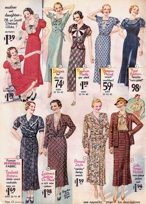 1934 Sears Catalog - Click through to see the amazing 1930's attire and check out how cheap everything used to be.