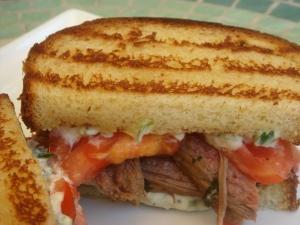 Flank Steak With Chimichurri on Texas Toast