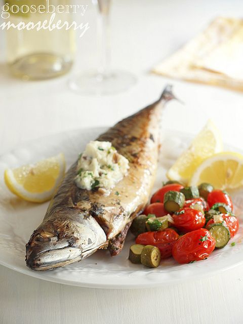 anchovy butter on roasted mackerel. fish on fish. mmm.