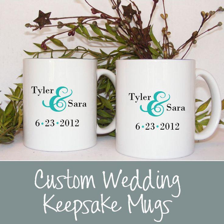 Personalized Coffee Mugs Wedding Gift : Custom Mr and Mrs Mug Set Wedding date with Bride and Groom Names per ...